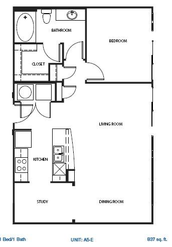 1,048 sq. ft. A5-E floor plan
