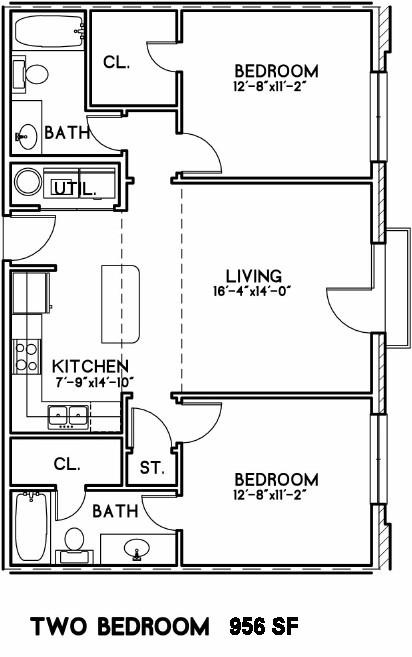 956 sq. ft. Heathrow floor plan