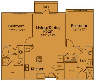 1,200 sq. ft. to 1,210 sq. ft. EA/EB floor plan