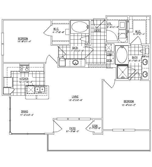 1,166 sq. ft. B2C floor plan