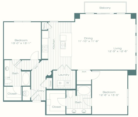 1,505 sq. ft. B6 floor plan