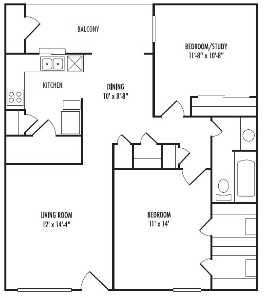 895 sq. ft. B floor plan