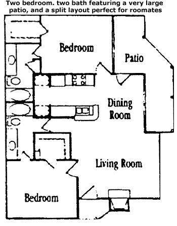 1,009 sq. ft. Oak floor plan