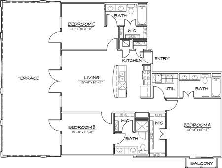 1,353 sq. ft. floor plan
