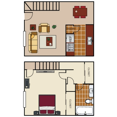 640 sq. ft. THI1 floor plan