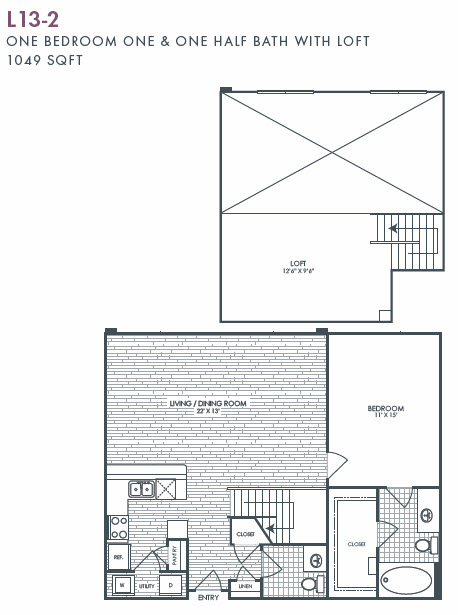 1,049 sq. ft. L13-2 floor plan