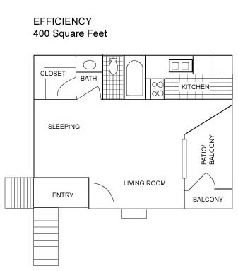 400 sq. ft. A floor plan