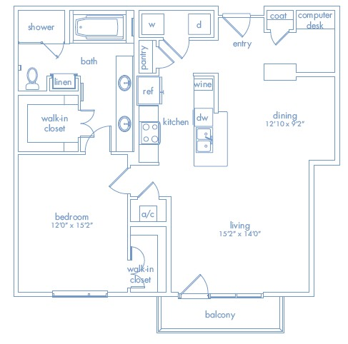 1,093 sq. ft. POLLOCK floor plan