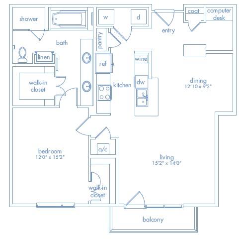 1,093 sq. ft. Pollock floor plan