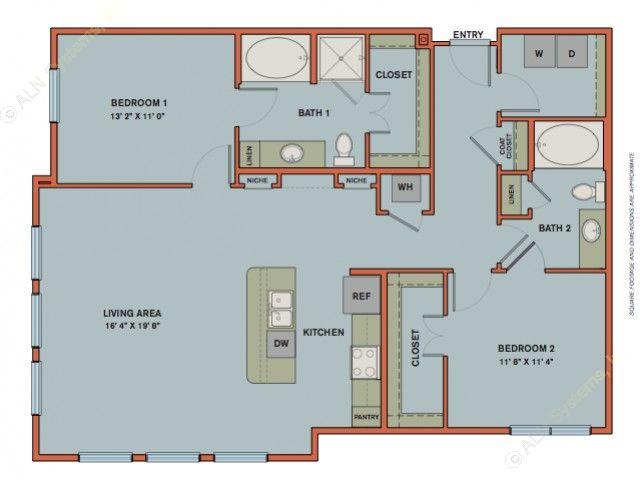 1,307 sq. ft. B8 floor plan