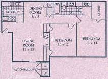 900 sq. ft. D floor plan