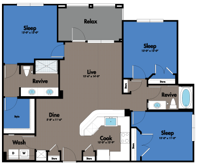 1,313 sq. ft. C1 floor plan