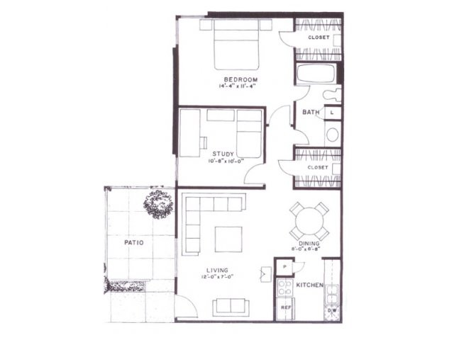 848 sq. ft. B8 floor plan