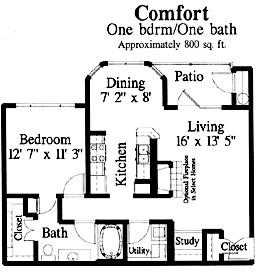 800 sq. ft. Comfort floor plan