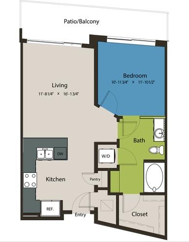 715 sq. ft. A8L-A floor plan