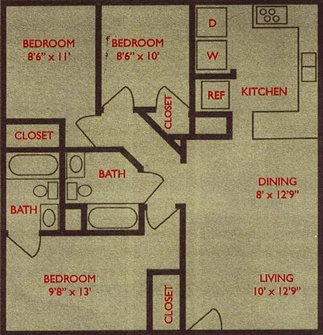 980 sq. ft. Live Oak floor plan