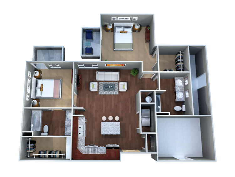 1,055 sq. ft. 2G floor plan