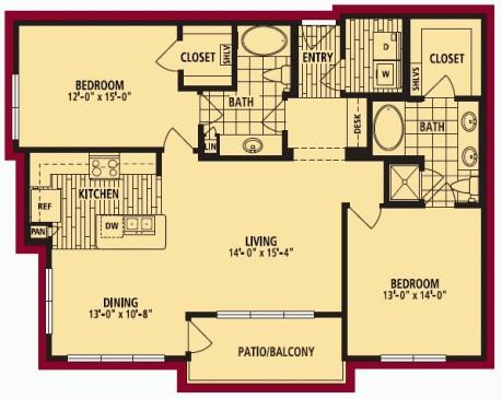 1,243 sq. ft. BELLO floor plan