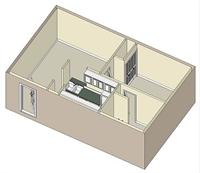491 sq. ft. 60% floor plan