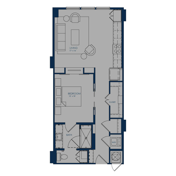720 sq. ft. A24D floor plan