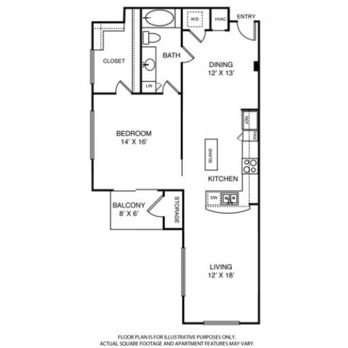 1,110 sq. ft. to 1,130 sq. ft. A8 floor plan