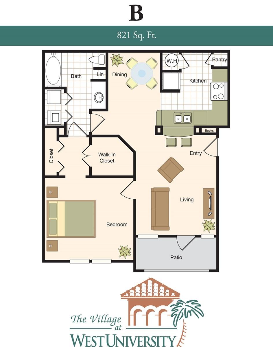 821 sq. ft. B floor plan