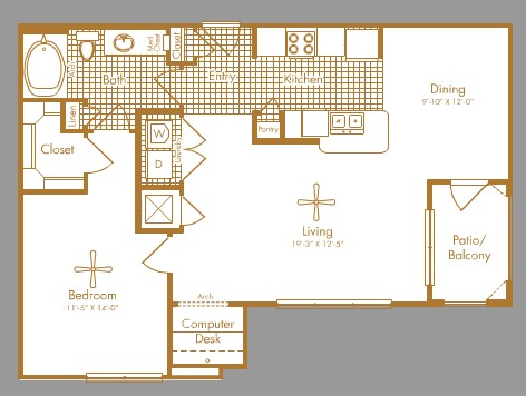 901 sq. ft. HOLCOMBE floor plan