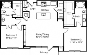 1,121 sq. ft. to 1,196 sq. ft. B2 floor plan