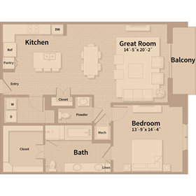 1,152 sq. ft. A2 floor plan