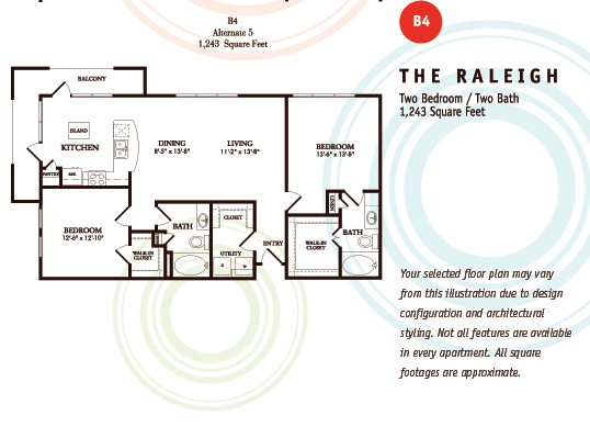 1,243 sq. ft. B4/Raleigh floor plan