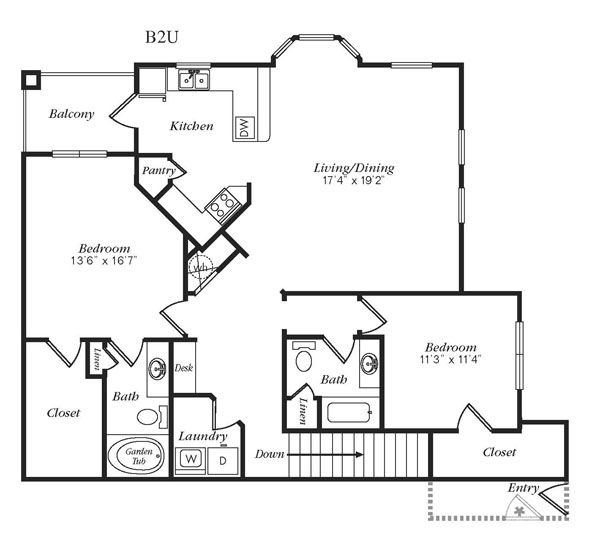 1,448 sq. ft. B2UG floor plan
