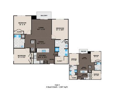 1,387 sq. ft. Oak I floor plan