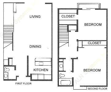 1,128 sq. ft. 2X1.5 floor plan