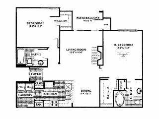 1,124 sq. ft. B4 floor plan