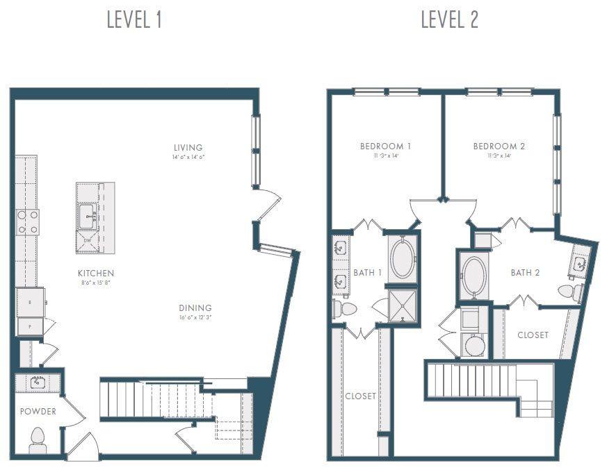 1,815 sq. ft. TH1B 2 floor plan