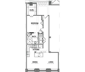 843 sq. ft. Unit 2 floor plan