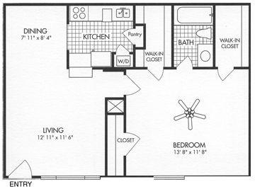 664 sq. ft. A8 floor plan