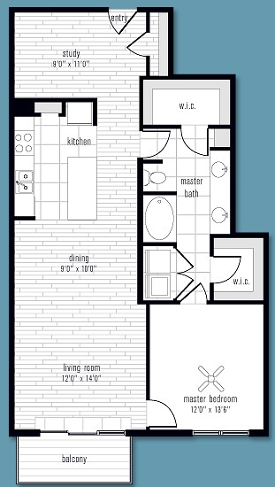 1,066 sq. ft. to 1,126 sq. ft. K floor plan