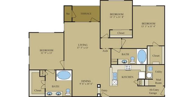 1,484 sq. ft. C1 floor plan