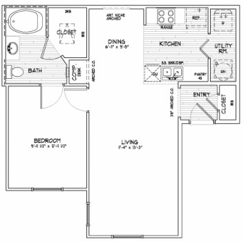 679 sq. ft. A1 floor plan