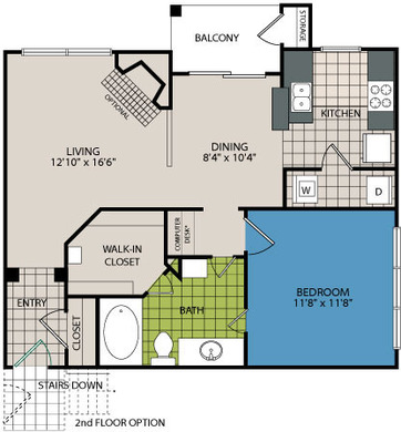 768 sq. ft. A6 floor plan