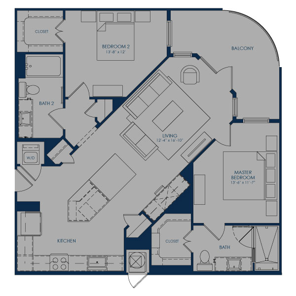 1,135 sq. ft. to 1,139 sq. ft. B-IC36.1 floor plan