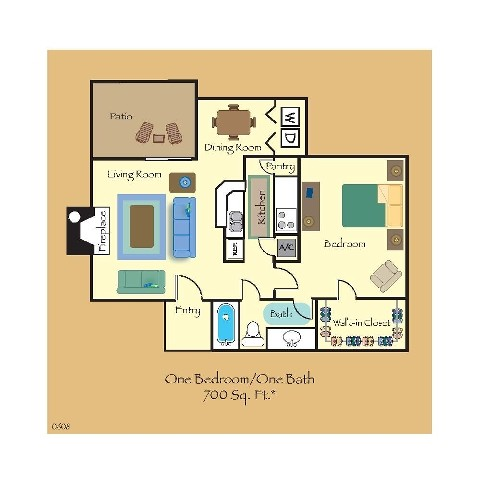 700 sq. ft. A5 floor plan
