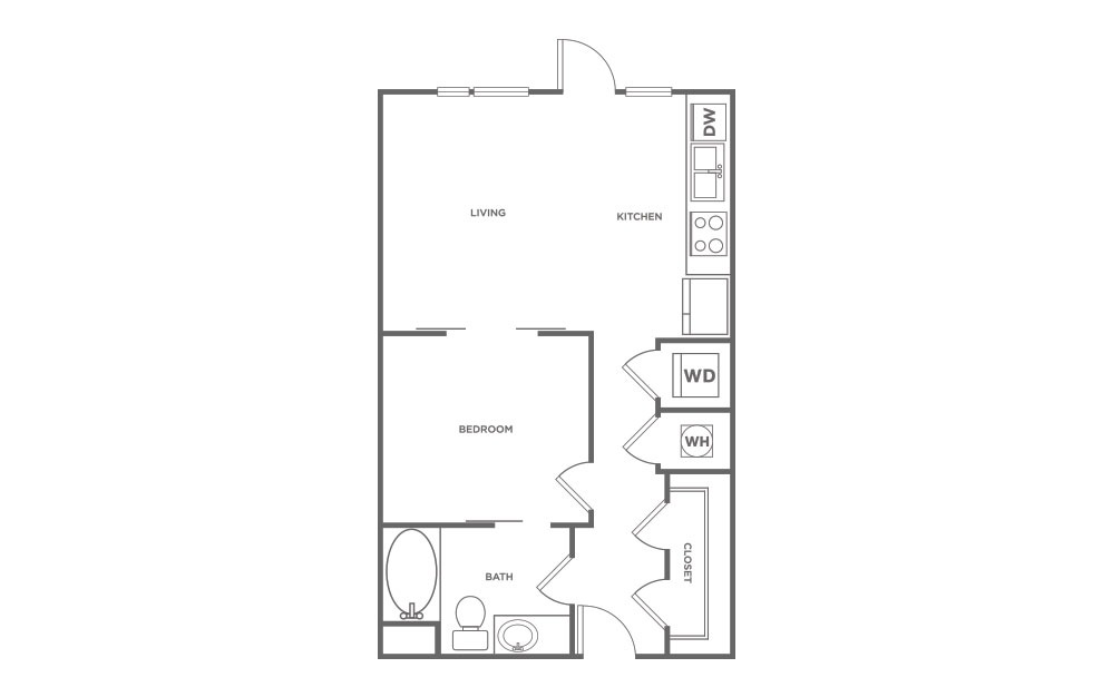614 sq. ft. S1 floor plan