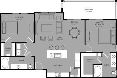 1,249 sq. ft. Manhattan floor plan