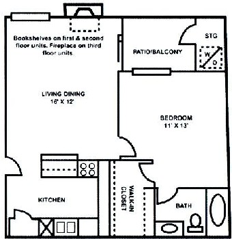 550 sq. ft. A-1 floor plan
