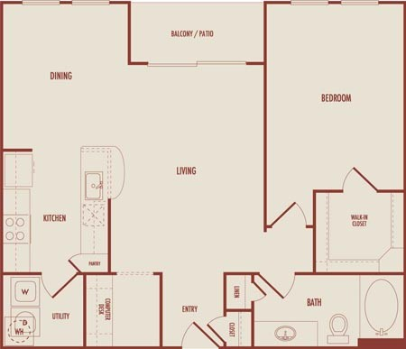 860 sq. ft. A3 floor plan