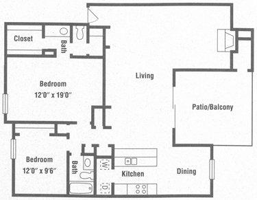 1,421 sq. ft. B2 floor plan