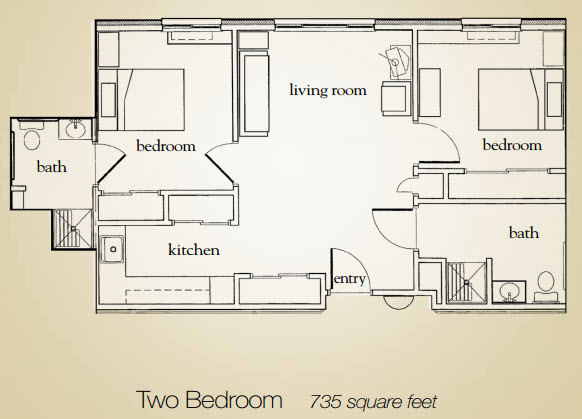 735 sq. ft. floor plan