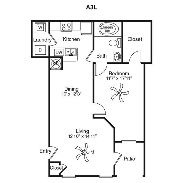 820 sq. ft. A1C floor plan